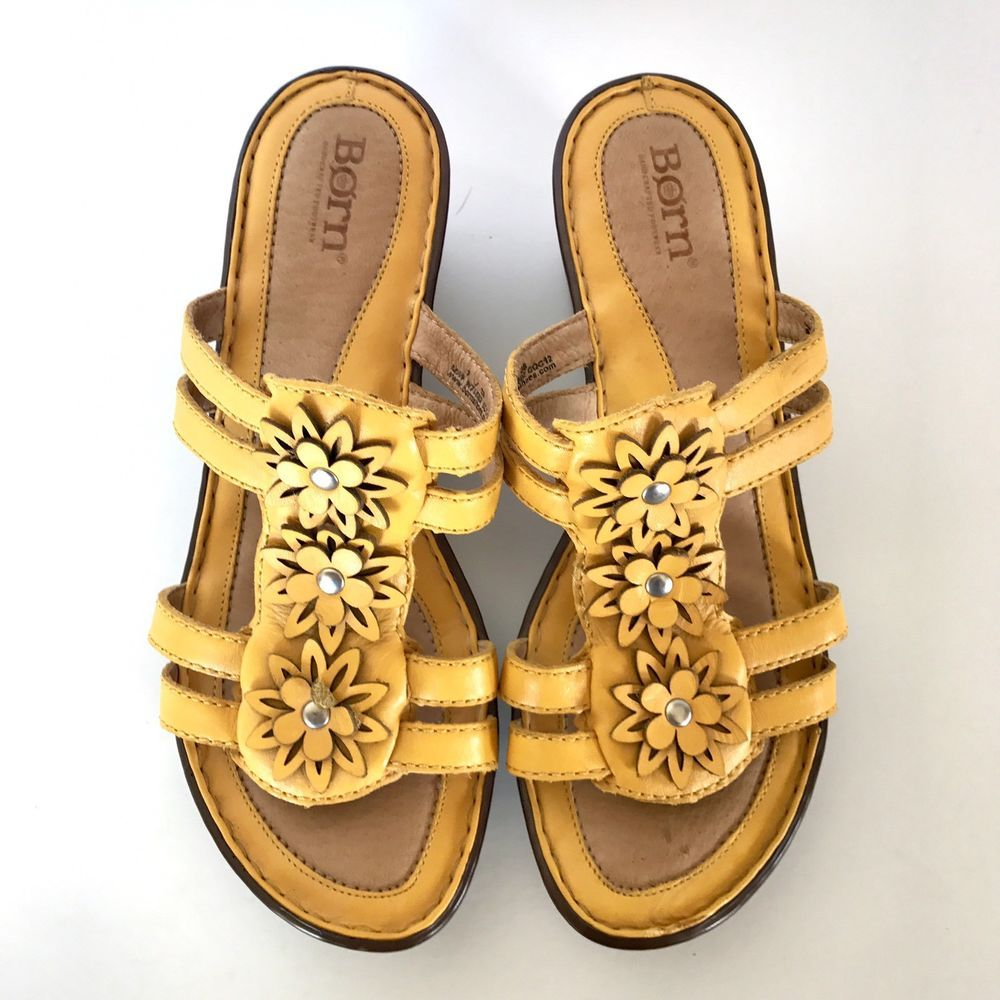 ae3d306d9c Born Yellow Wedge Rosette Sandals Women's US 7 Eur 8 #Born #PlatformsWedges