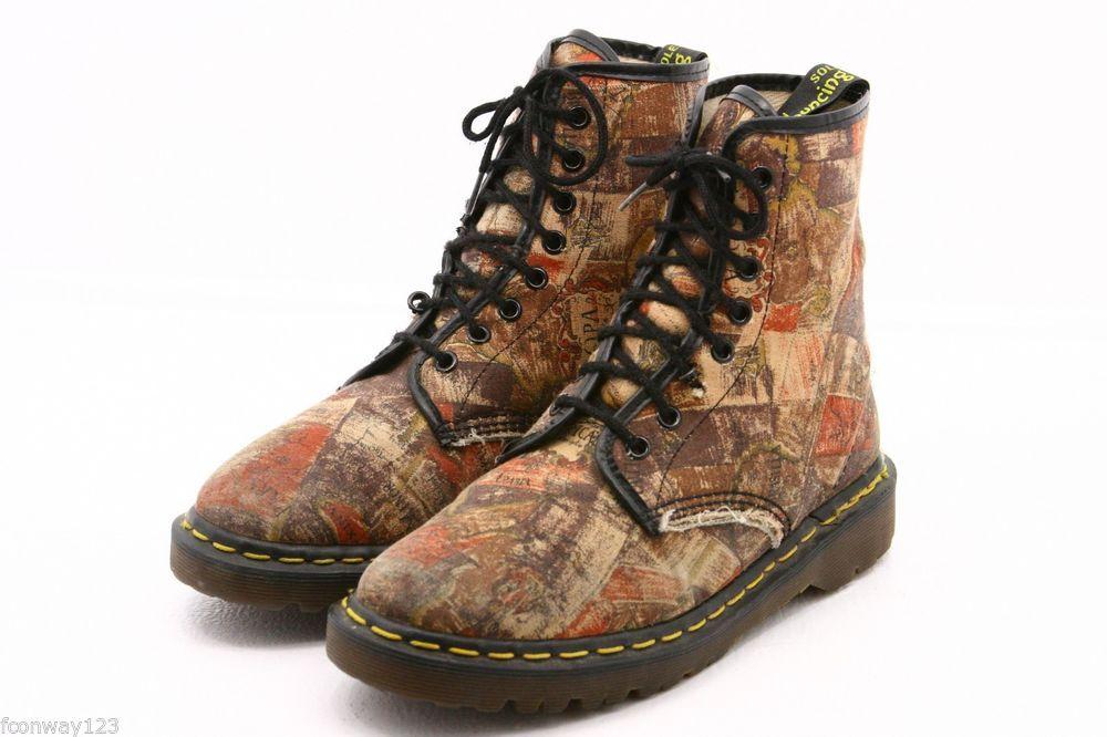 Dr Martens Doc womens boots size 8 Made England UK 6 original world map  canvas
