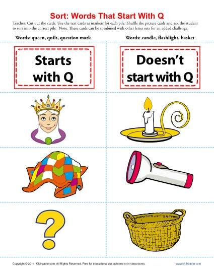 Words Starting With Letter Q | Beginning Consonant Worksheets | Letter  sort, Words, Consonant