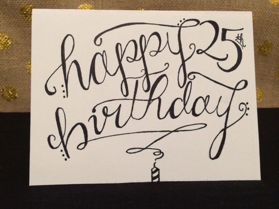Hand Lettered Happy Birthday Card 3x4 Inches on High Quality – Writing for Birthday Cards