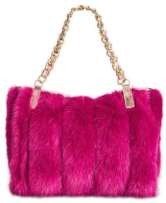 5eb10a90bbd3 Betsey Johnson Lux Faux-Fur Medium Satchel with Chain Strap - Betsey  Johnson - Handbags   Accessories - Macy s