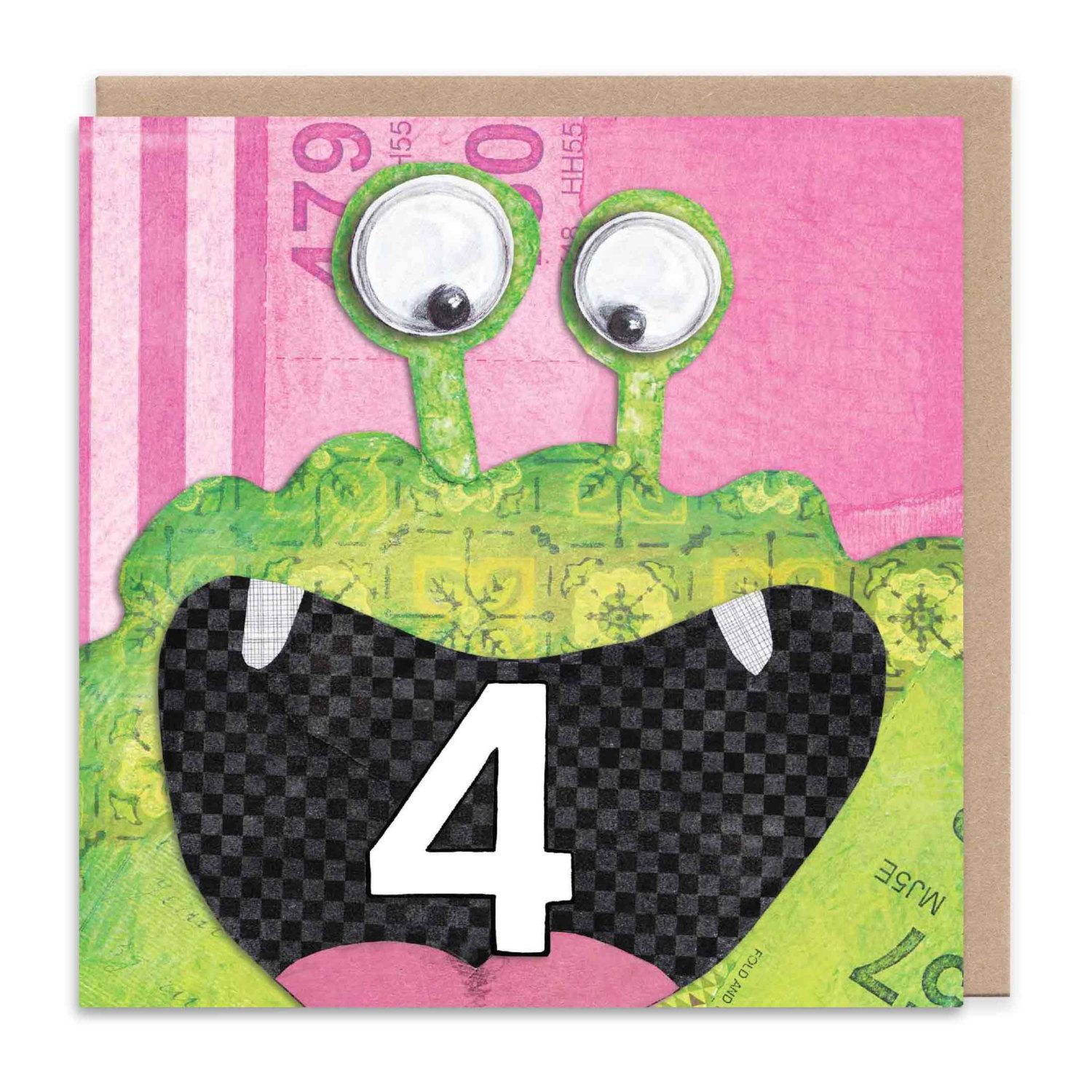 Friendly monster age 4 kids card kid kids cards and etsy friendly monster age 4 kids card kristyandbryce Image collections