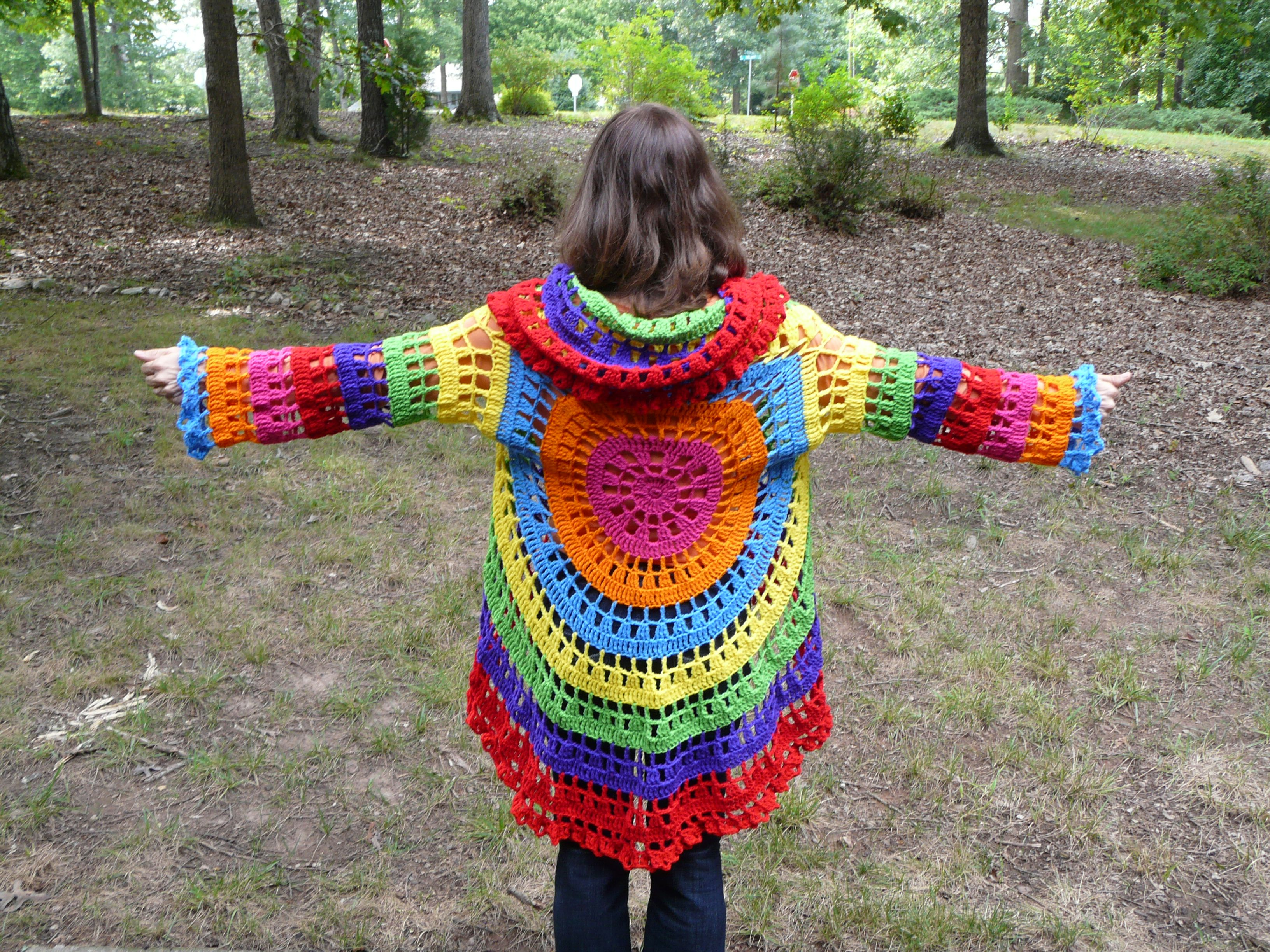 My psychedelic circle jacket psychedelic crochet circles and love this crochet circle jacket post includes a link to the free pattern bankloansurffo Choice Image