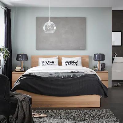 Malm Cadre De Lit Haut Plaque Chene Blanchi 160x200 Cm Ikea Malm Bed Malm Bed Frame Bed Frame