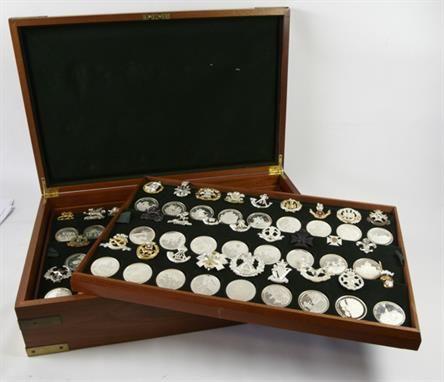 Lot 569: Great British Regiments, proof silver medallion set with replica cap badges. Estimate: £750 - £950 Sale date 20th November 2013 www.afbrock.co.uk