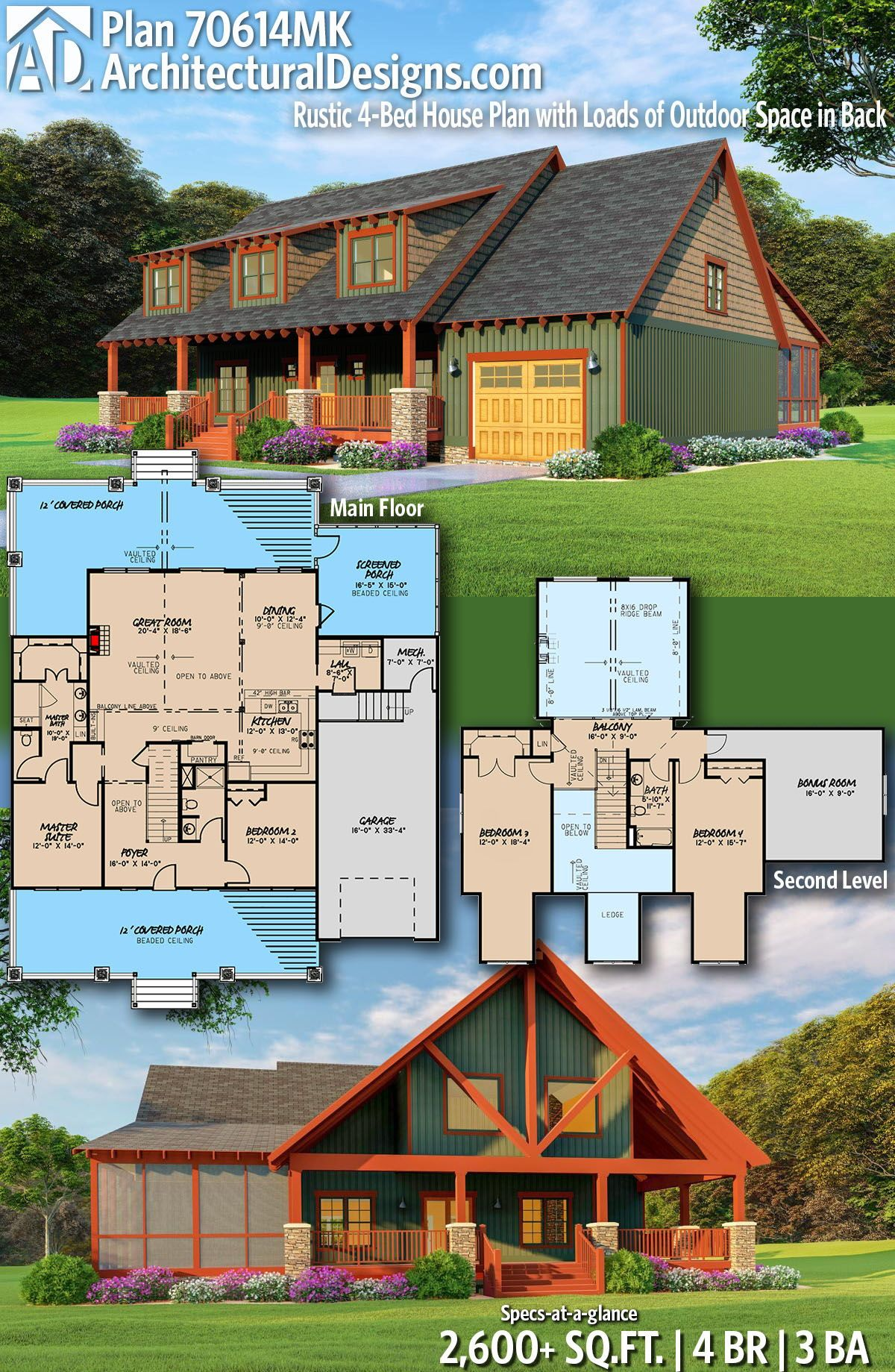 Plan 70614mk Rustic 4 Bed House Plan With Loads Of Outdoor Space In Back Rustic House Plans House Plans Log Home Floor Plans
