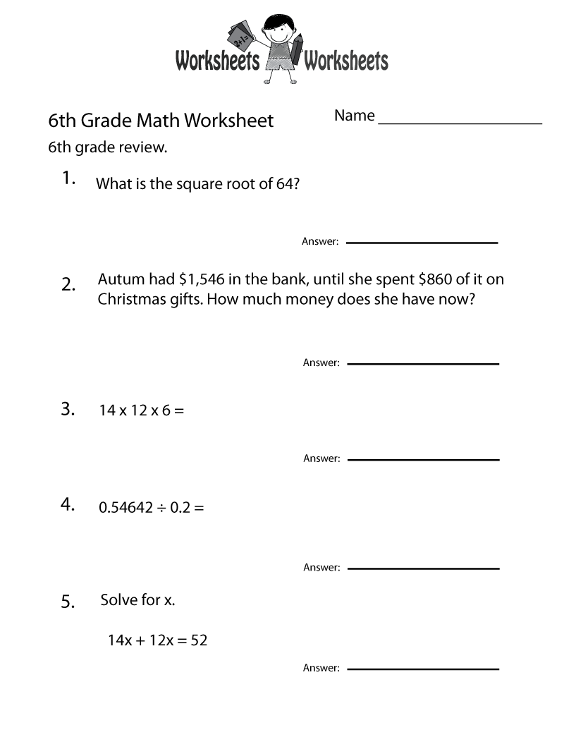 Printable 6th Grade Worksheets For Teaching Resources 6th Grade Worksheets Math Worksheets Grade 6 Math Worksheets
