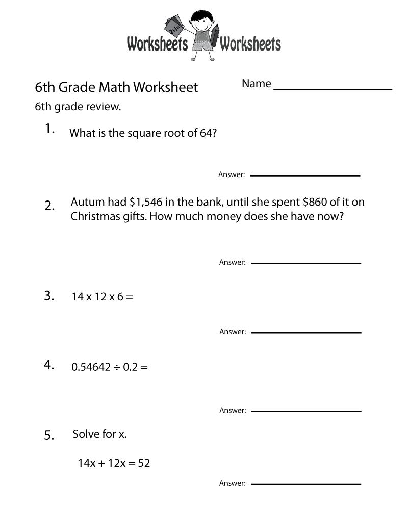 Printable 6th Grade Worksheets For Teaching Resources 6th Grade Worksheets Math Worksheets Grade 6 Math Worksheets