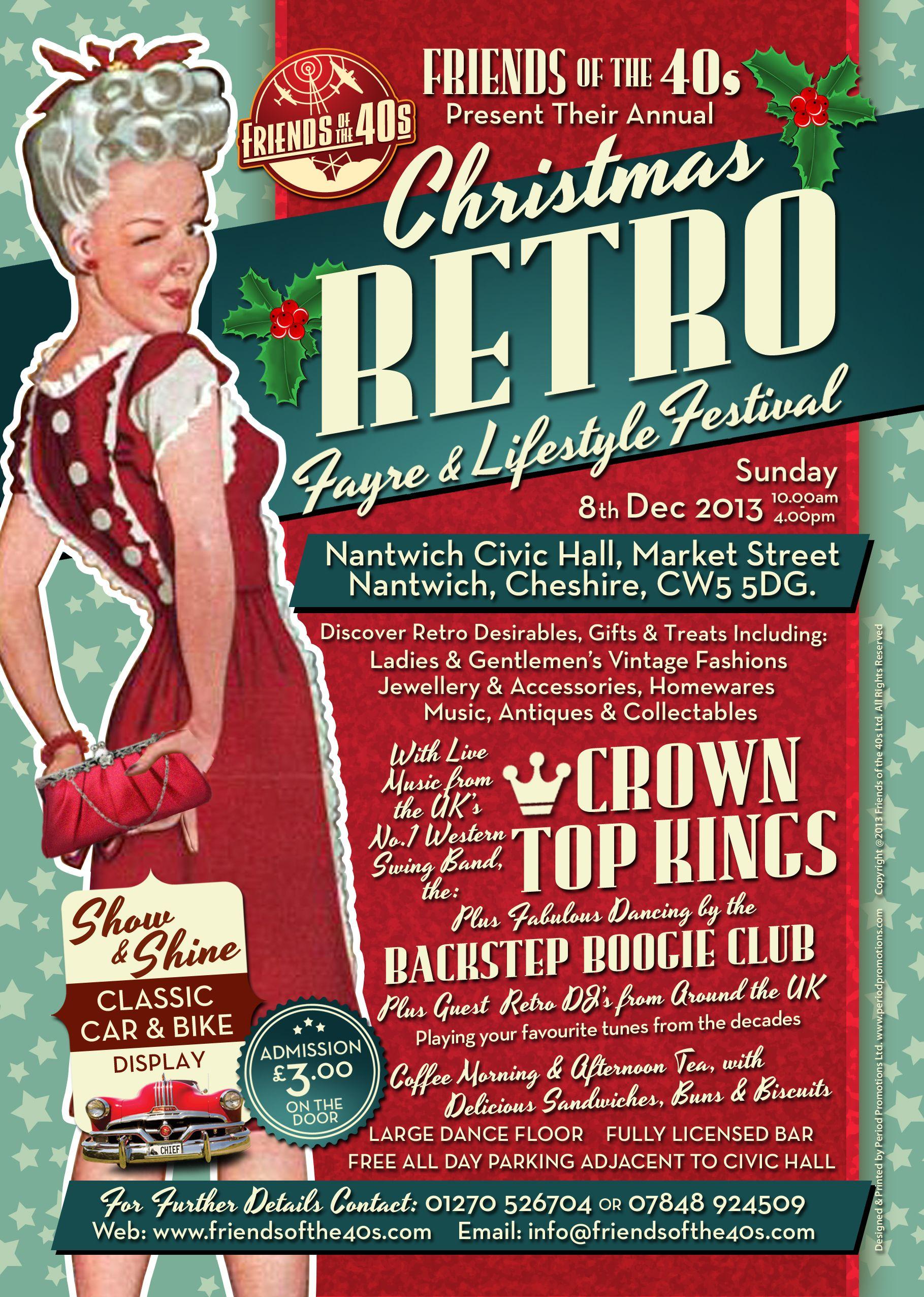 promotional poster for fotf annual christmas retro  u0026 vintage lifestyle fair  nantwich historic