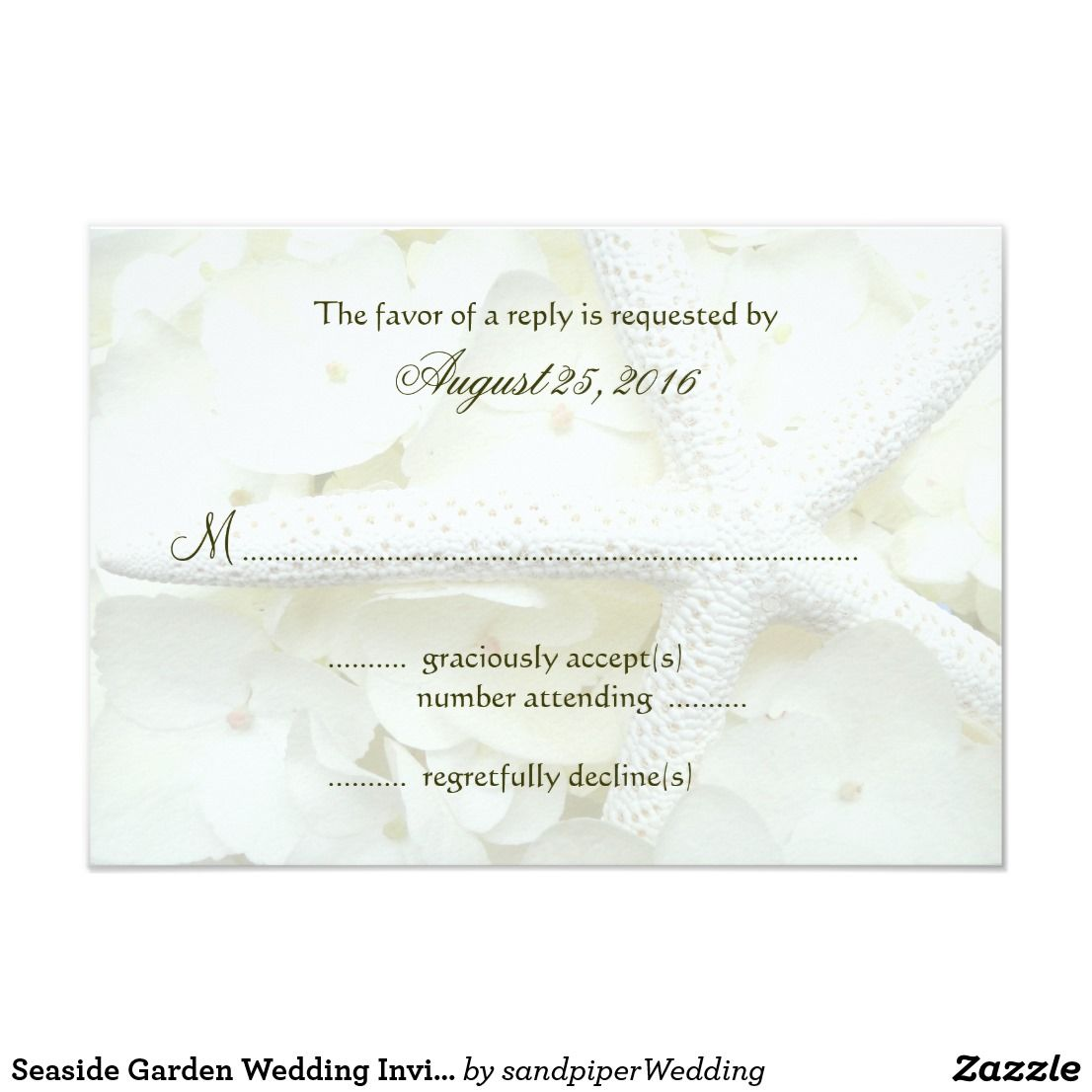 Seaside Garden Wedding Invitation Reply Cards | Beach Wedding ...