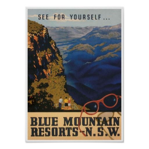 Blue Mountain Resorts Australia Vintage Travel Poster