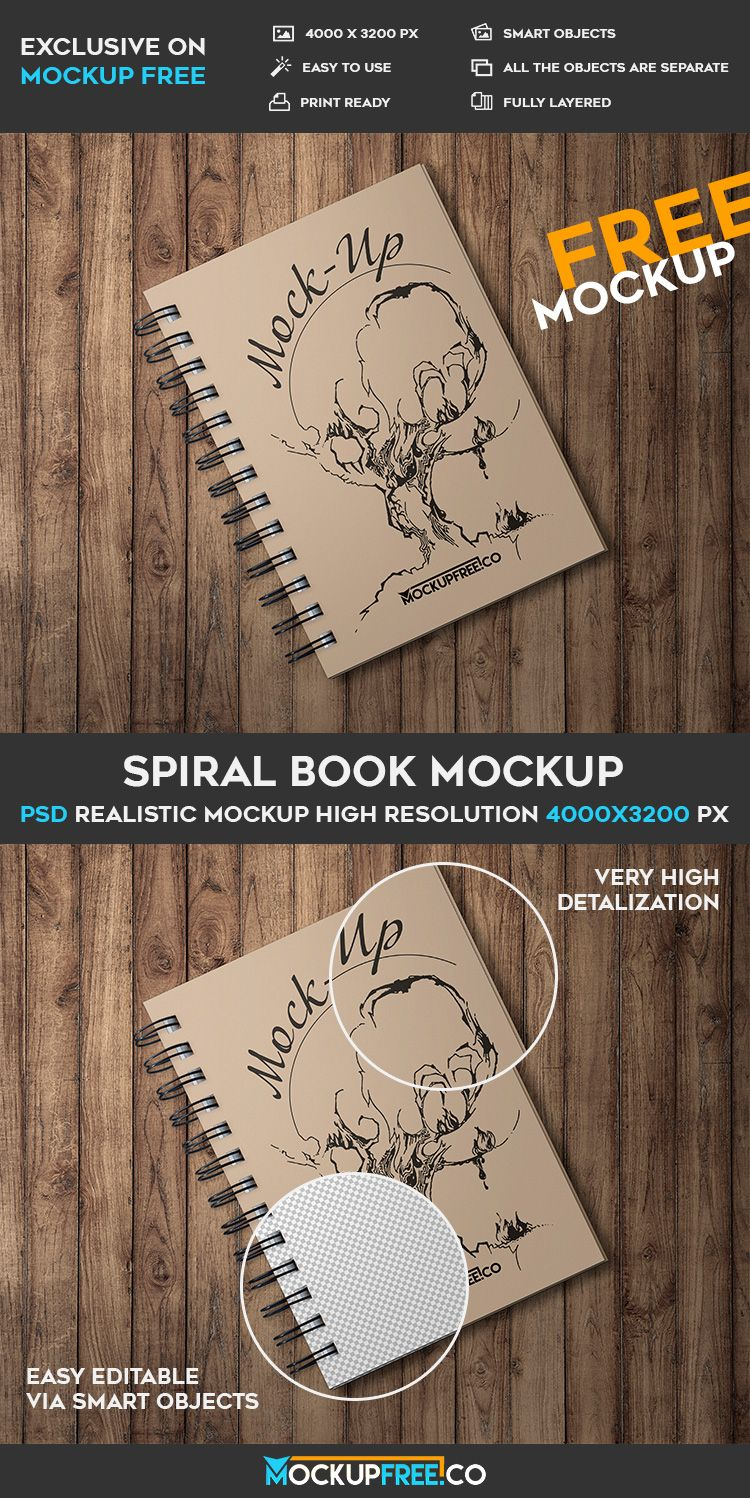 Free Spiral Book PSD Mockup | Free PSD Templates | #free #photoshop ...