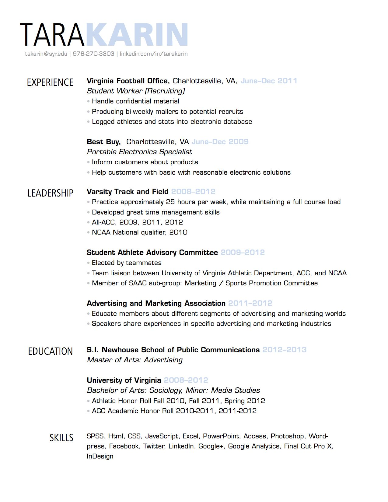 Simple, clean resume design with clear section headings | Resumes ...
