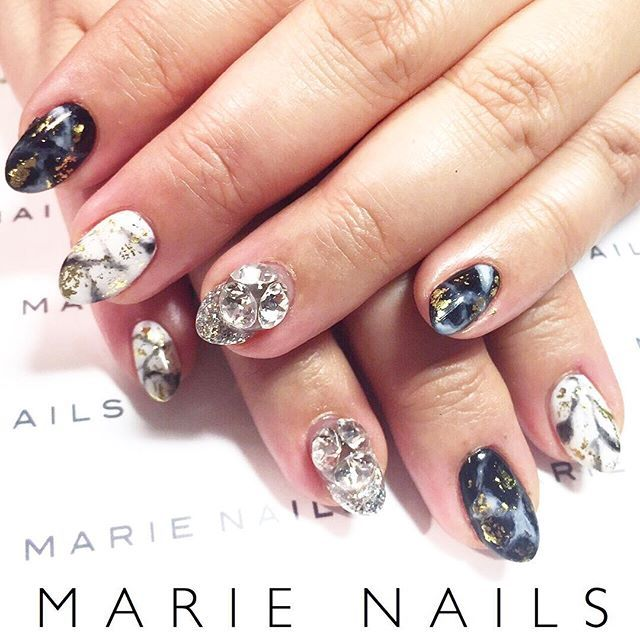 Black And White Marble Nail Art With Gold Foil From Marie Nails Ny