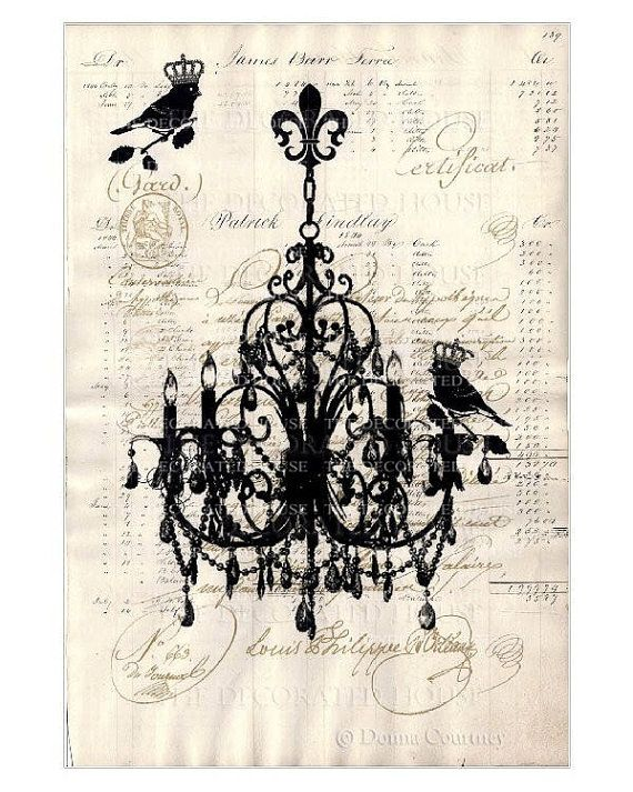 Vintage chandelier french script art print original art printed on antique paper by the