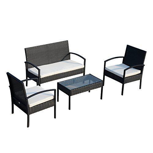 Ensemble Salon de Jardin 4 Places : canapé, 2 fauteuils et ...