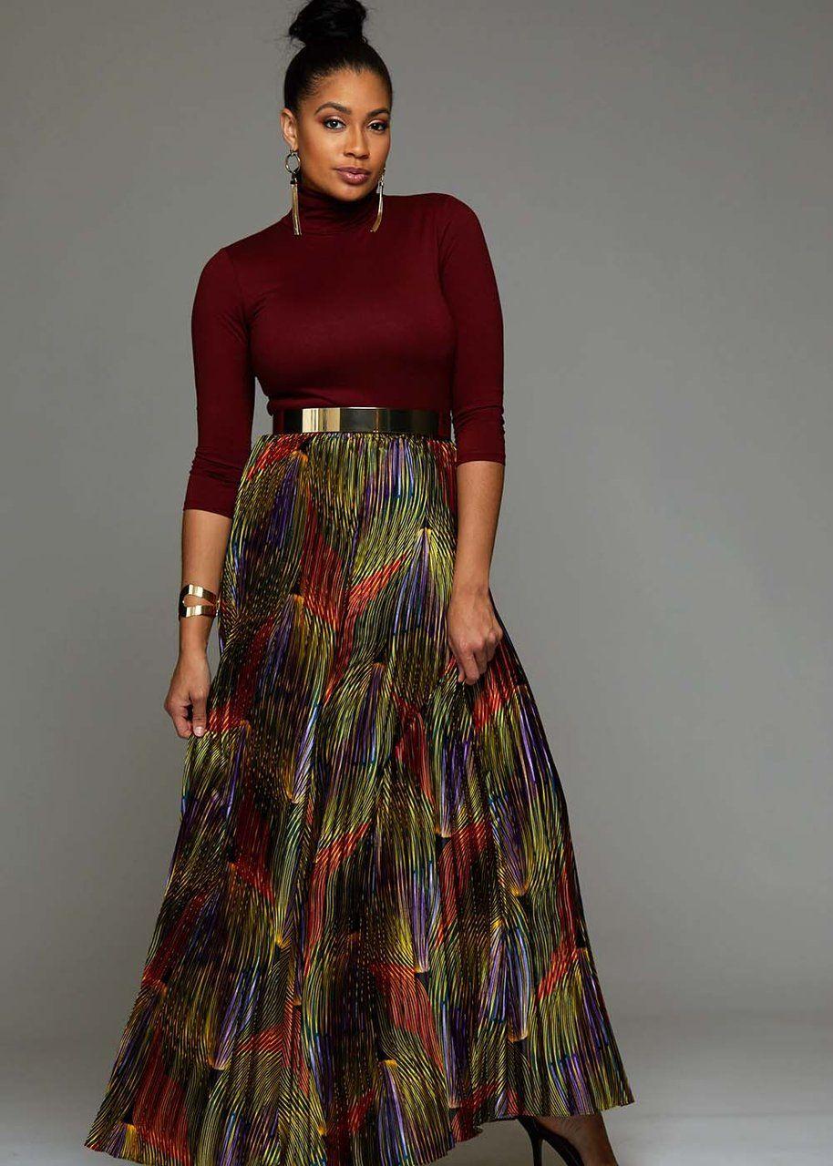 b0d97f5423 Fara Chic Women's African Print Satin Maxi Pleated Skirt (Yellow  Multicolored Waves)