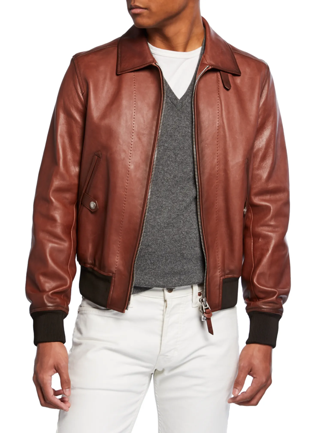 Tom Ford Men S Leather Zip Front Bomber Jacket Suede Bomber Jacket Men Tom Ford Jacket Leather Jacket Style [ 1400 x 1000 Pixel ]