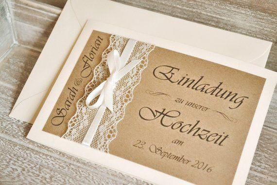 Einladungskarten zur Hochzeit - Vintage - mit Spitze und Kraftpapier #churchitems