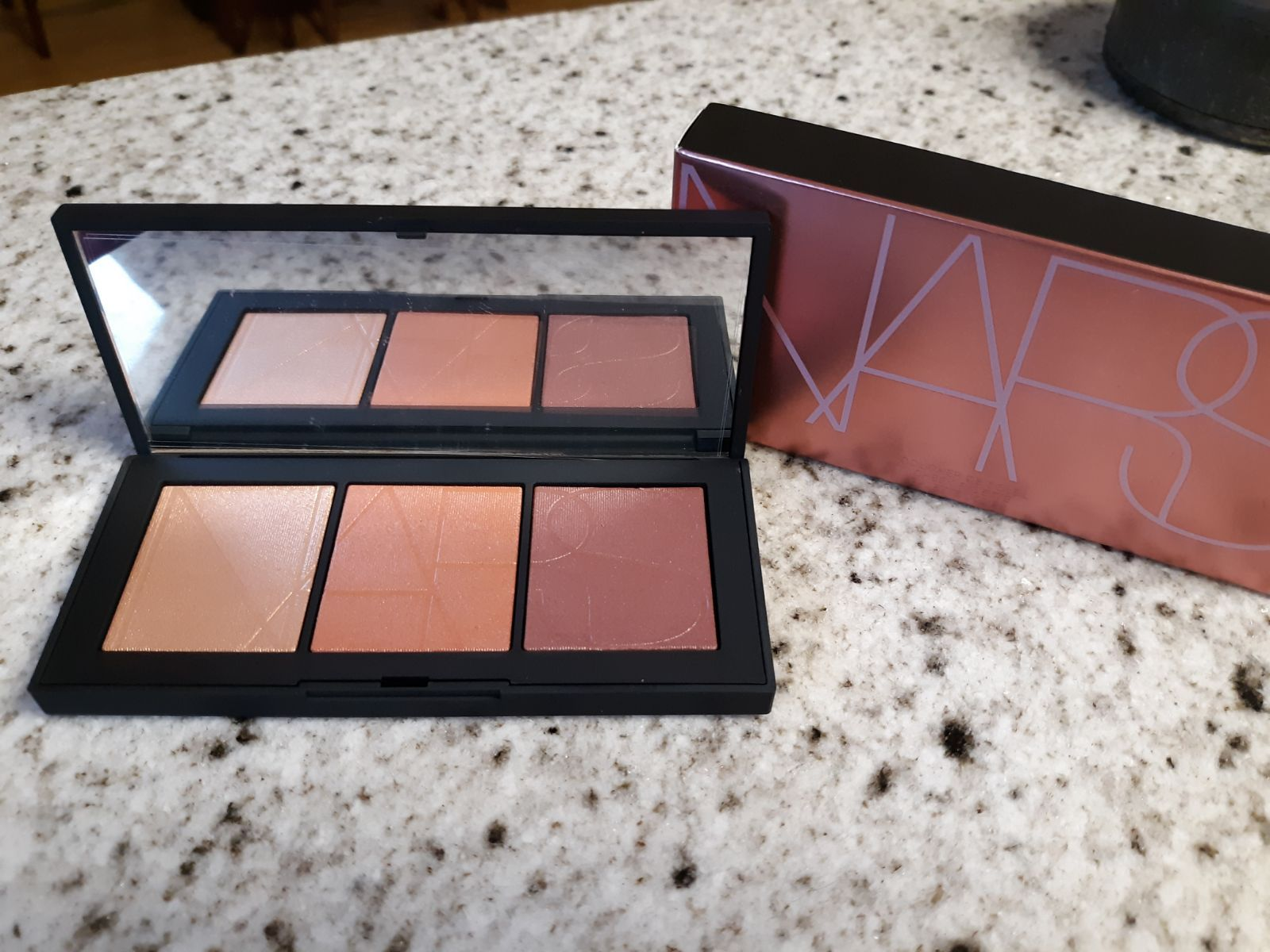 NARS Coucher De Soleil Cheek Palette  Limited Edition   Brand New, Unused & 100% AUTHENTIC! I will provide a copy of the original sales receipt upon request! Buy with Confidence!!  A LIMITED-EDITION CHEEK PALETTE OF OPALESCENT WET/DRY HIGHLIGHTING POWDERS.   Glow all out with an illuminating palette of sun-kissed shades for a supernatural sheen. Limited-edition cheek colors feature a range of pink shimmers and golden bronzes that can be worn dry for a shimmering veil of second-skin color or wet  #colorpalettecopies