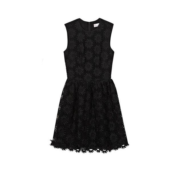 RED Valentino Floral Embroidered Dress (£469) ❤ liked on Polyvore featuring dresses, black, black skater skirt, black circle skirt, black lace overlay dress, black floral dress and black flared skirt
