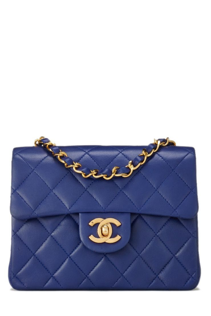 cffd0ad51edc WHAT GOES AROUND COMES AROUND Blue Quilted Lambskin Classic Flap Mini  Square - Chanel. #whatgoesaroundcomesaround #bags #shoulder bags #leather  #crossbody ...