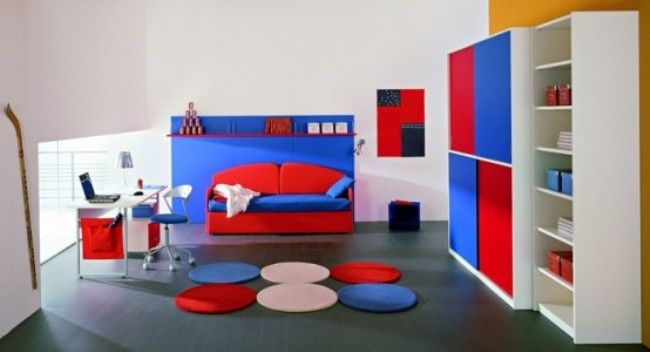 Modern White Red and Blue Bedroom ideas for Boys Daniel Room Ideas