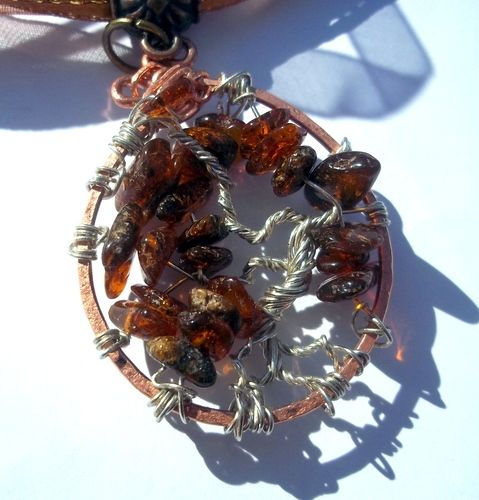 'Amber Tree of Life Necklace on Organza Ribbon' is going up for auction at  7pm Wed, Mar 6 with a starting bid of $20.