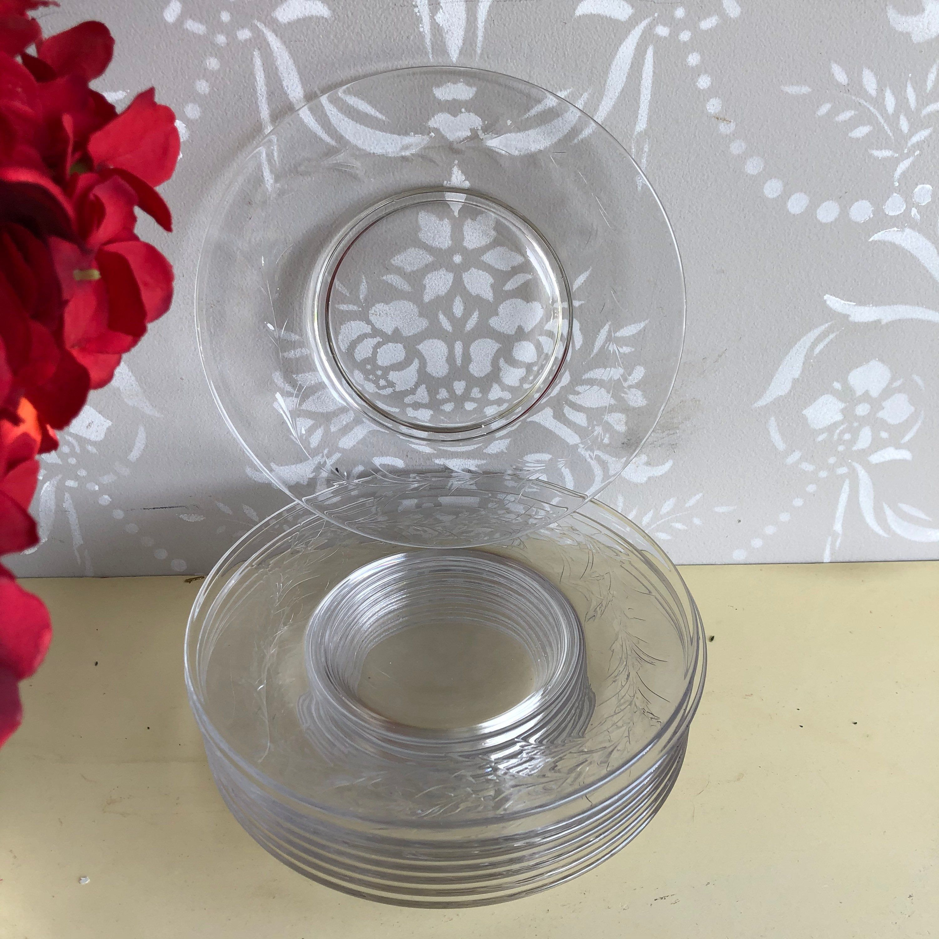 Vintage Etched Glass Clear Appetizers Dessert Plates Set Of 8 In