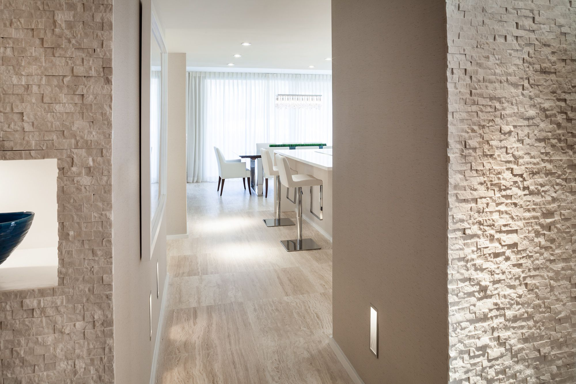 cozy ideas interior stone walls. Project by interiors  South Beach Contemporary Elegant Cozy Foyer Travertine marble stone Wall and floor Lid niche in white lacquer 2id