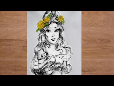 How to draw a girl | girl with flowers drawing | sketch | bir kız nasıl çizilir | كيفية رسم فتاة - YouTube
