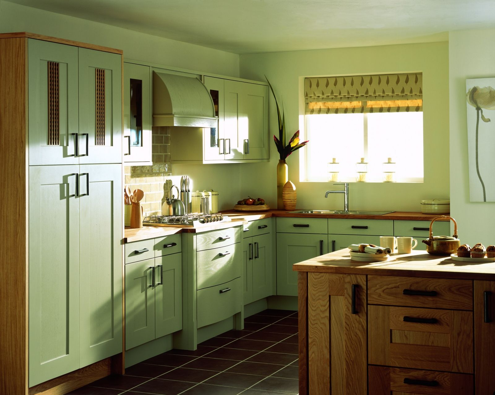 Kitchen: Amazing Green Painted Kitchen Wall Panels With Wooden ...