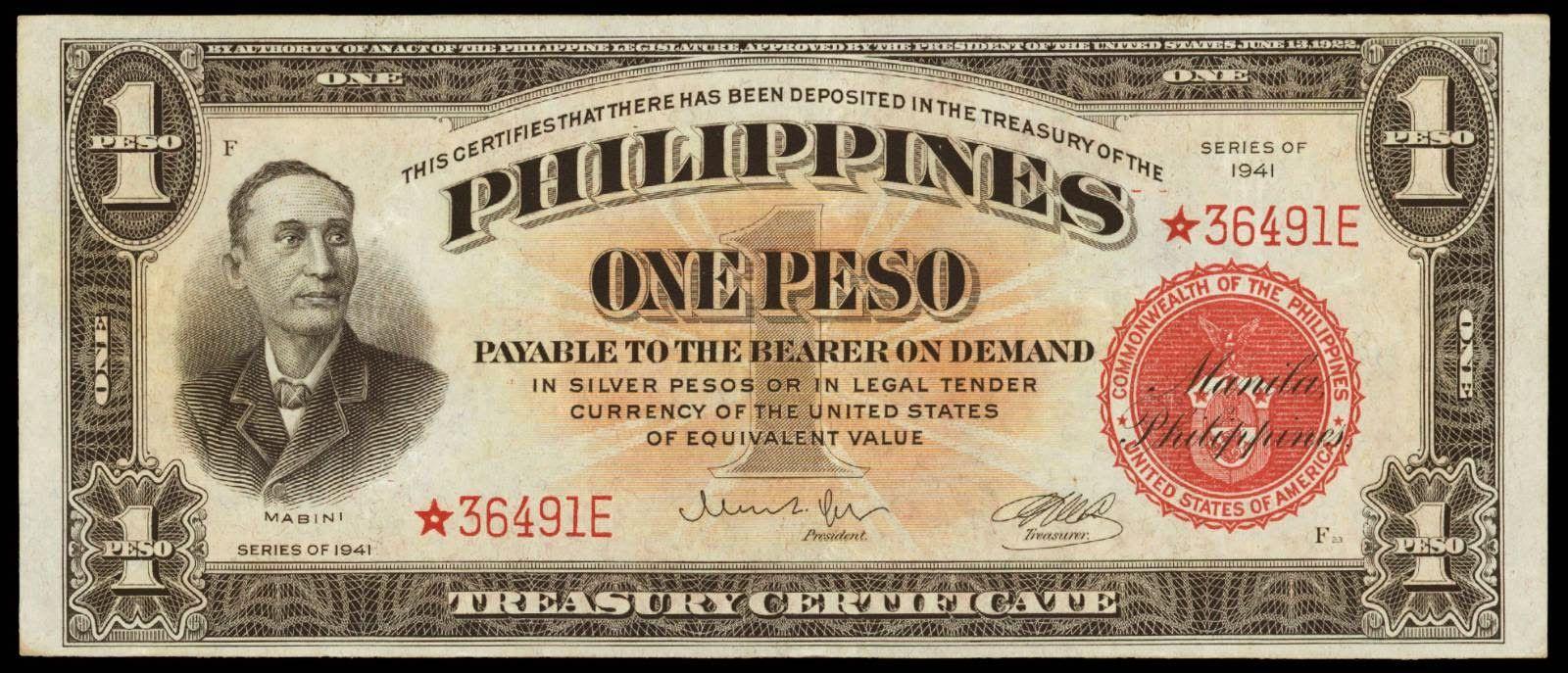 One Peso Treasury Certificate 1941
