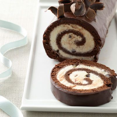 Chocolate peppermint ice cream cake roll