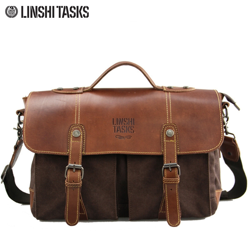 63.20$  Buy here - http://ali2ye.worldwells.pw/go.php?t=32340781222 - Men fashion retro canvas+cowhide leather panelled tote crossbody shoulder bag casual men's cover flap messenger bag briefcase 63.20$