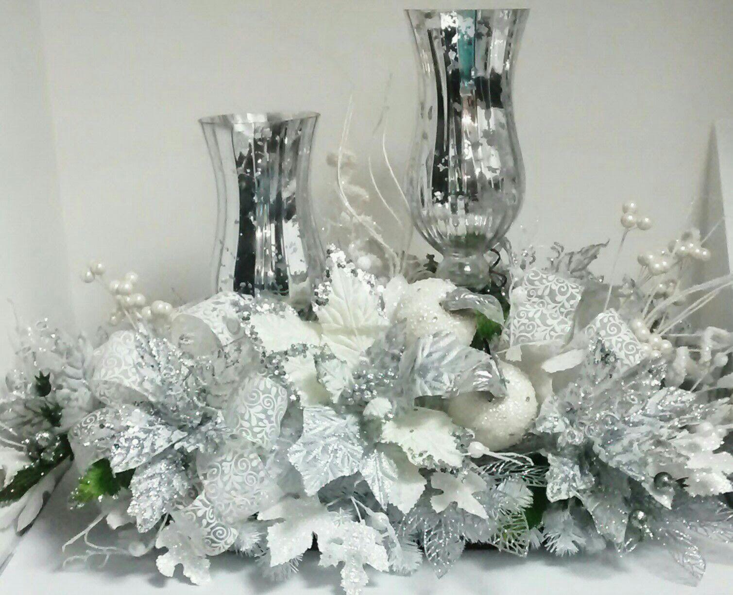 Jarrones de cristal de mercurio de color plateado y flores - Decoracion jarrones cristal ...