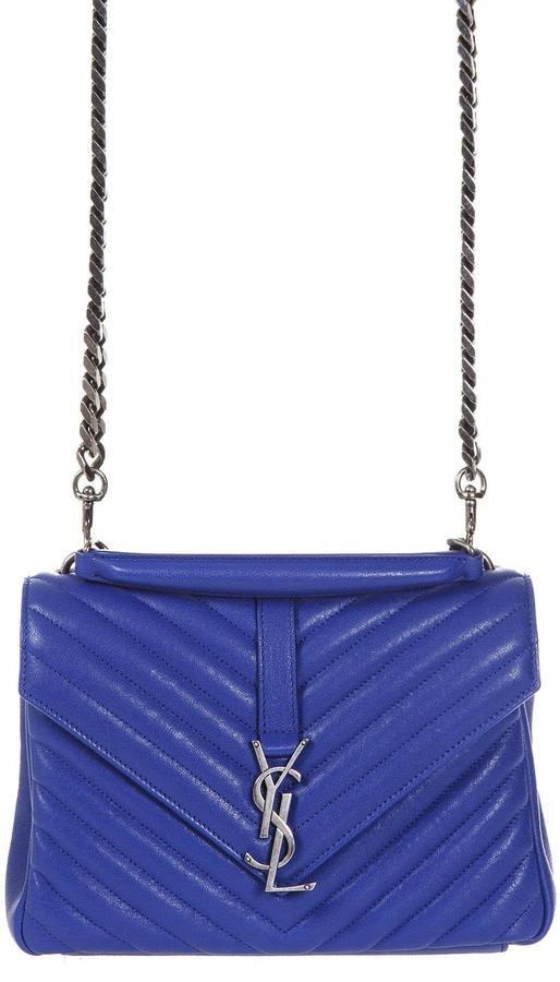 Saint Laurent Medium College Bag In Royal Blue Matelassé Leather ... 3f737217096ec
