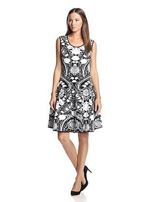Marchesa Voyage Women's Floral Jacquard Dress (Black/White)