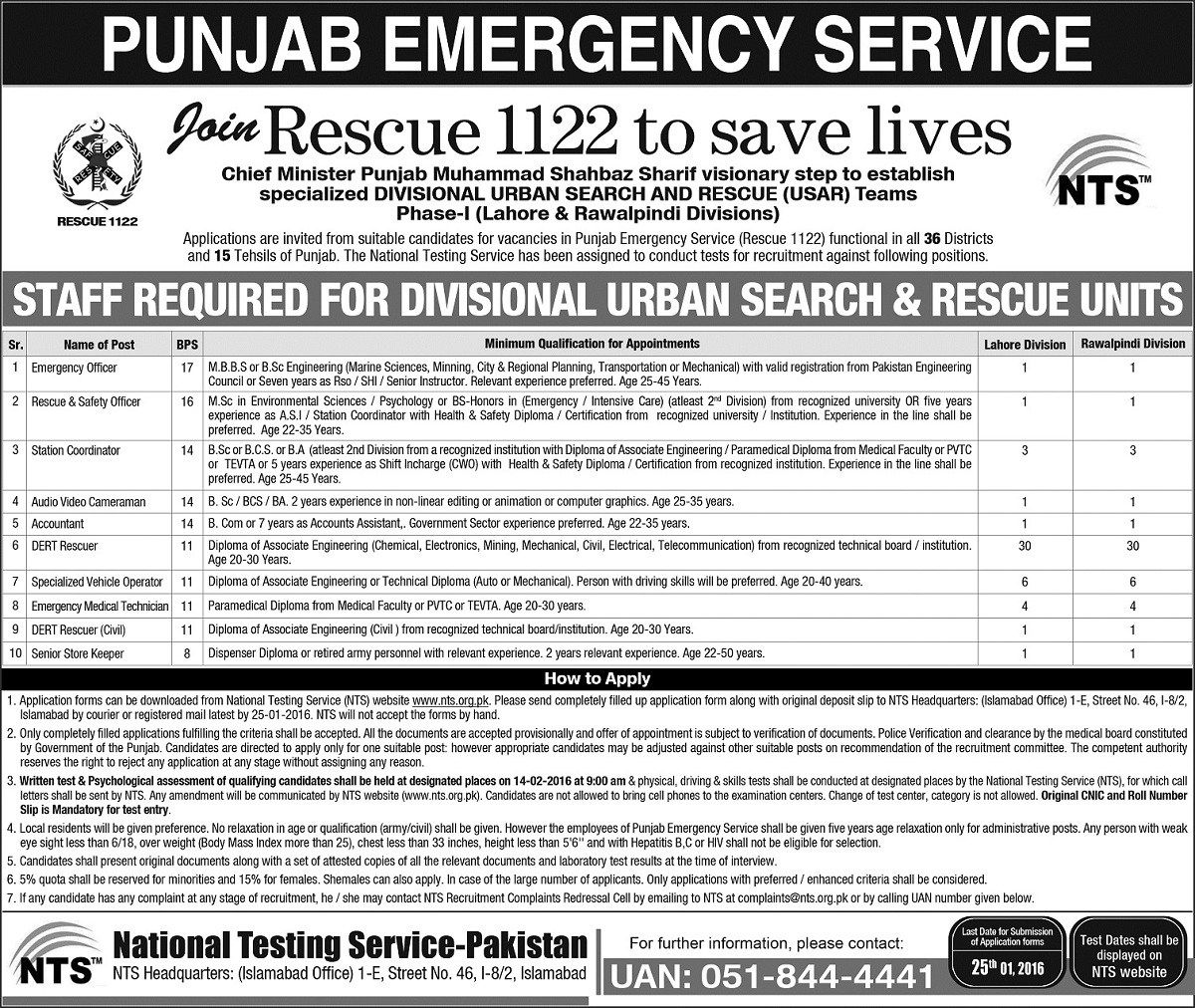 Rescue 1122 Jobs 2016 Application Forms NTS Test Date online