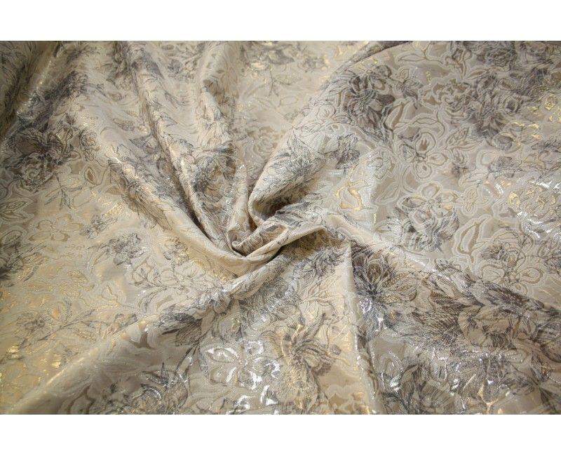 Brokát s metalickým vláknem svatební béžovozlatošedý  2864591b50