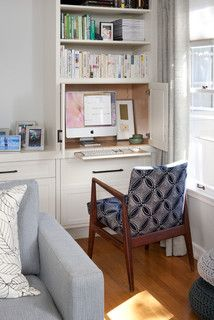 Slide Out Desk With Cabinets To Hide Wires And Monitor When Not In Use Desk In Living Room Computer Desk Living Room Wall Shelves Living Room