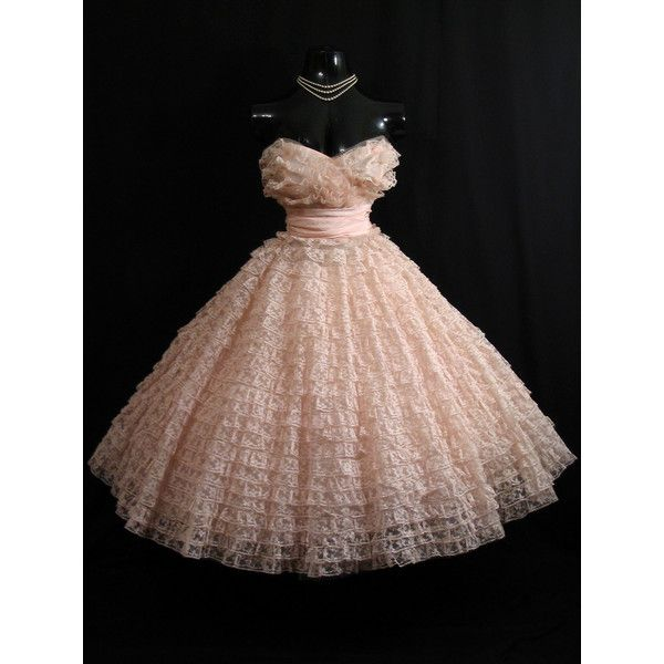 Vintage 1950's 50s Bombshell Strapless PINK Lace Tulle