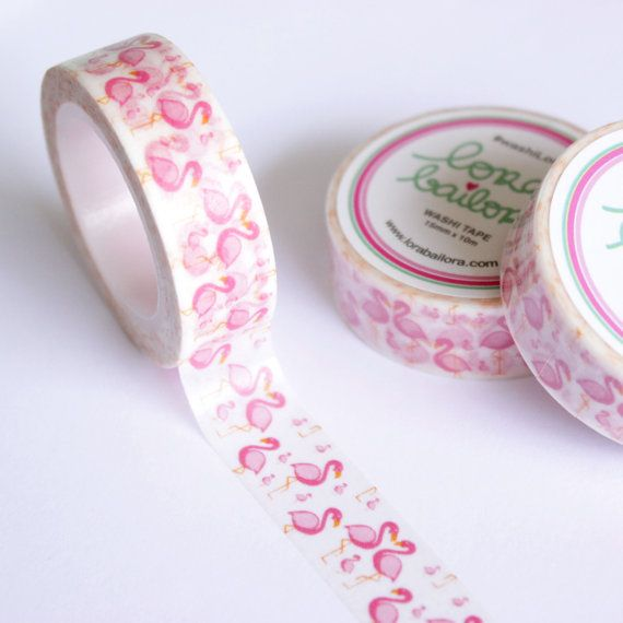 PRE-ORDER Washi tape Flamingos 15mm x 10m by lorabailora on Etsy