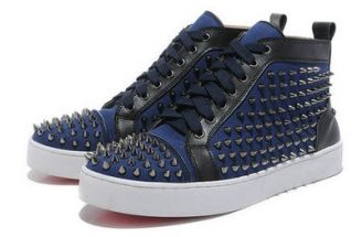 1f84bfbde93 Christian Louboutin Mens Studded Sneakers Blue Red Bottom Shoes ...