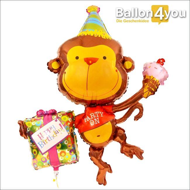 """Partyäffchen - Happy Birthday     Unser buntes Äffchen kann es kaum erwarten, das Geburtstagskind mit einem Geschenk und einer leckeren Eistüte zu überraschen. """"Ich glaub mich laust der Affe"""", wird sich bei dieser Überraschung nicht nur die beschenkte Person denken."""