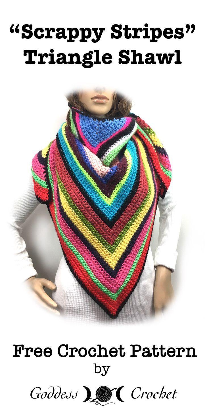 Scrappy Stripes Triangle Shawl - Free Crochet Pattern   crochet ...
