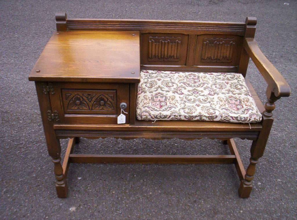 Lovely Oak Genuine Old Charm Hall Seat Telephone Table Settle Bench |  Lincolnshire | Gumtree - Lovely Oak Genuine Old Charm Hall Seat Telephone Table Settle Bench