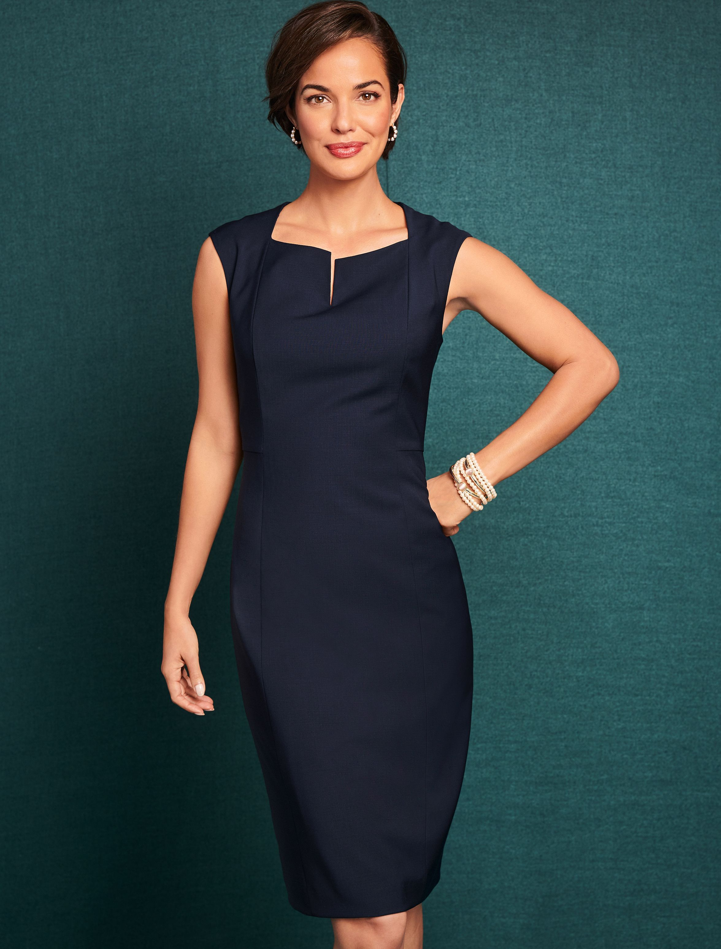 A Classic Polished Sheath In Our Ever Popular Seasonless Wool With A Feminine Split Neckilne And A Structured Streamlined Dresses Sheath Dress Formal Outfit [ 3094 x 2351 Pixel ]