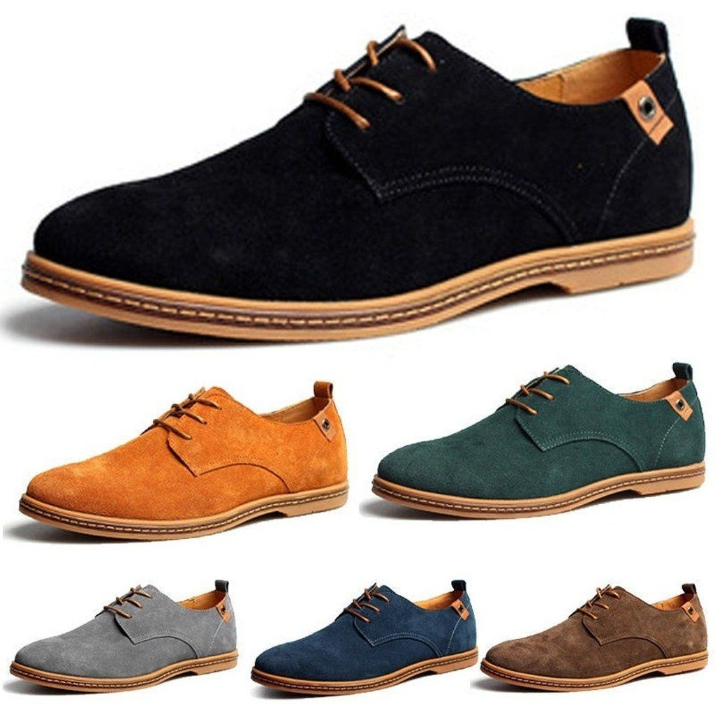 d1cadfe505fb7 Fashion 38-48 Casual Dress/Formal Oxfords Shoes Wing Tip Suede Leather  Flats Lace