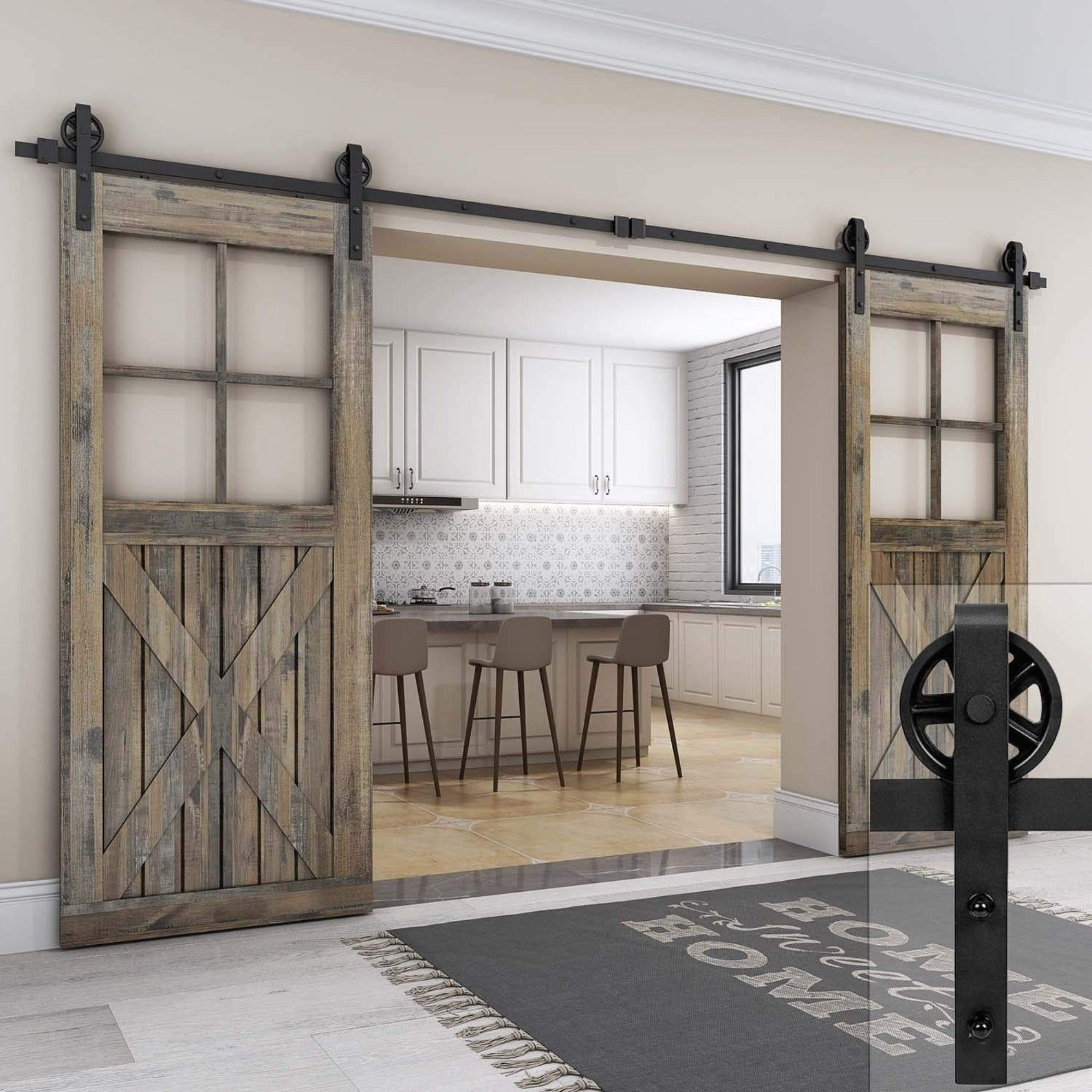 Sliding Double Door Barn Door Hardware Kit Heavy Duty Easy To Install Smooth Quiet F In 2020 Interior Sliding Barn Doors Glass Barn Doors Double Sliding Barn Doors